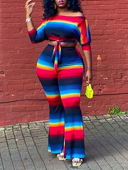 Plus Sized Multicolored Two Piece Sets Women