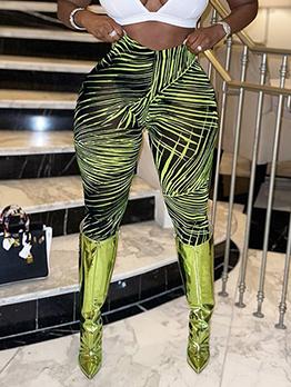 Fashion Irregular Print High Springy Long Pants