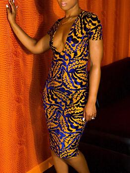 Night Club Print Low-Cut Short Sleeve Dress