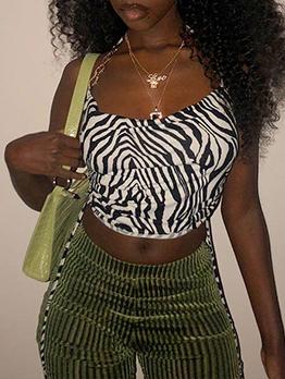 Sexy Summer Zebra Printed Chain Halter Cropped Tank