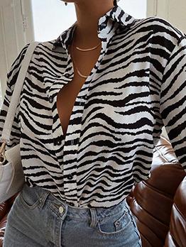 Vintage Casual Loose Printed Long Sleeve Blouse