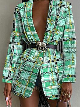 Modern Long Sleeve Green Blazers For Women