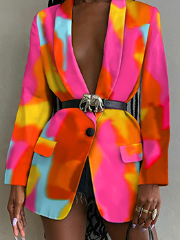 New Arrival Colorful Print Long Sleeve Coat