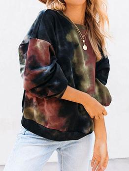 Leisure Tie Dye Winter Long Sleeve Loose Sweatshirt