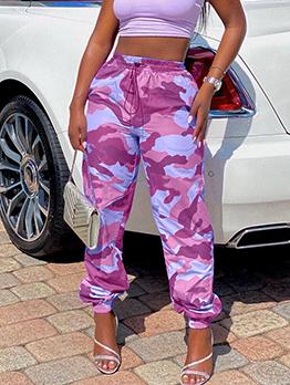 Street Camouflage Drawstring Long Pant For Women