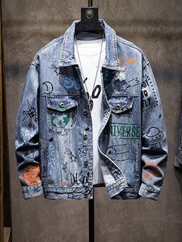 Graffiti Printed Long Sleeve Denim Coat For Men