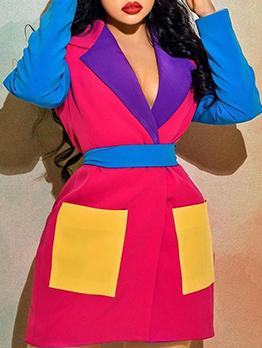 Contrast Color Plus Size Blazer Dress For Women