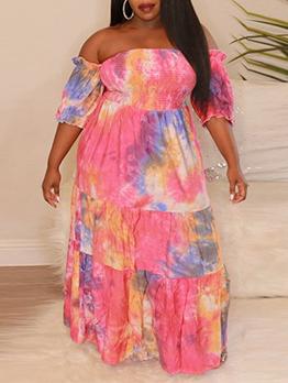 Tie Dye Printed Off The Shoulder Plus Size Maxi Dress