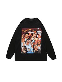 Casual Black Printed Long Sleeve Sweatshirt For Men