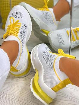 Fashion Rhinestone Lace Up Casual Women Sneakers