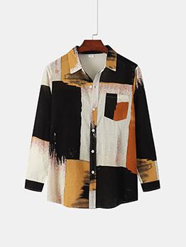 Multicolored Pocket Long Sleeve Fall Shirt For Men