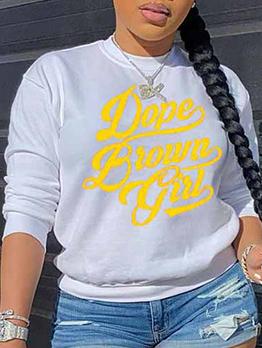 Yellow Letter Print Long Sleeve White Sweatshirts