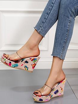Fashion Printed Transparent Slide Wedge Slippers