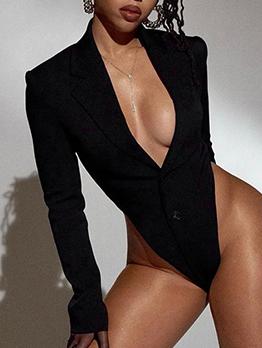 Elegant Black Notch Collar Long Sleeve Bodysuit