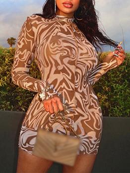 Trendy Brown Mock Neck Bodycon Long Sleeve Dress