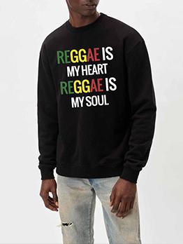 New Contrast Color Letter Sweatshirt For Men