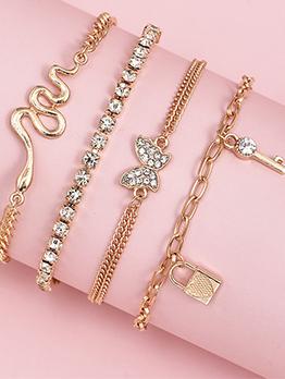 Rhinestone Chain Women Bracelet Sets