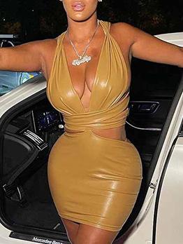 Latest Style Nightclub Low Cut Faux-Leather Sheath Dress