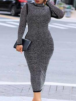 Fashion Hot Drilling Nightclub Skinny Plus Size Dress