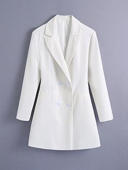 Street White Notch Collar Button Up Fitted Blazer