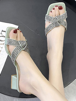New Square Toe Patch Ladies Slippers