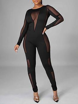 Alluring Plain Black Gauze Long Sleeve Jumpsuit