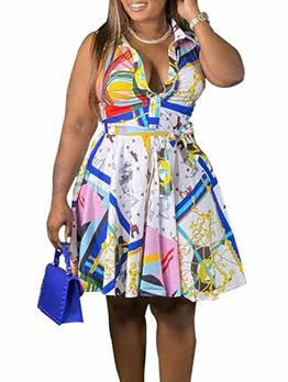 Fresh Colored Print Sleeveless Pleated Dress