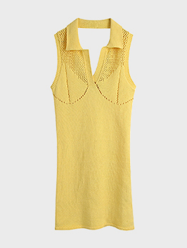 Casual V Neck Solid Backless Sleeveless Dress