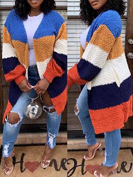 Loose Contrast Color Cardigan Coat For Women