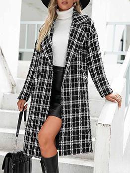 Trendy Notch Collar Long Sleeve Long Coat