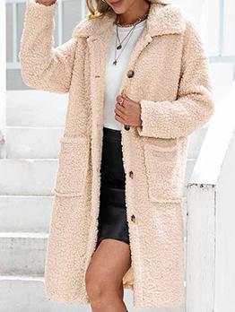 Winter Solid Plush Pocket Lamb Wool Long Coat