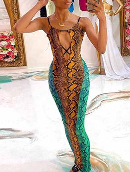Sexy Snake Printed Backless Sleeveless Maxi Dress