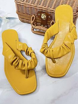 Beach Solid Summer Open Toe Flat Sandals