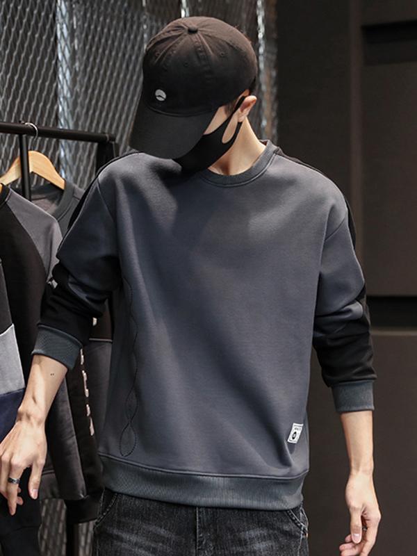 New Crew Neck Patch Sweatshirt For Men