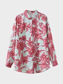 Outdoor Flower Printed Long Sleeve Loose Women Blouse