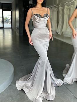 Sexy V Neck Sleeveless Maxi Evening Dresses