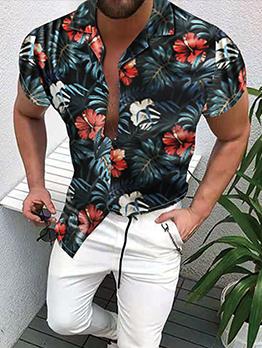 Beach Colorful Print Short Sleeve Shirts
