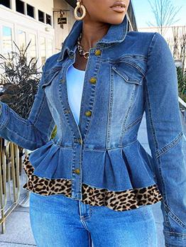 Autumn Long Sleeve Leopard Short Coat