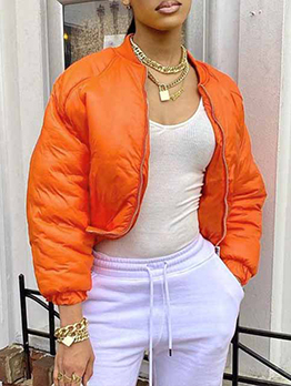 Trendy Solid Stand Collar Winter Short Coat