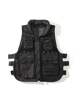 Fall Black Pocket Sleeve Jacket For Men