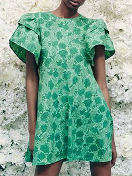 Summer Green Ruffled Sleeve Short Dress