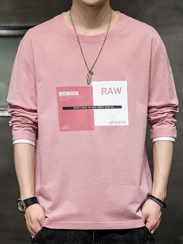 Korean Printed Crew Neck Top Sweatshirt For Men