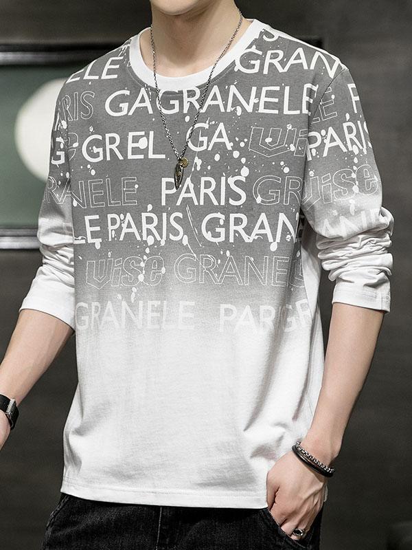 Gradient Color Letter Printed Crew Neck White Sweatshirt