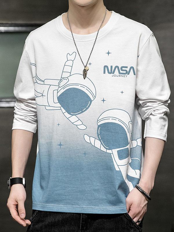 Cute Printed Gradient Color Cotton Sweatshirt For Men