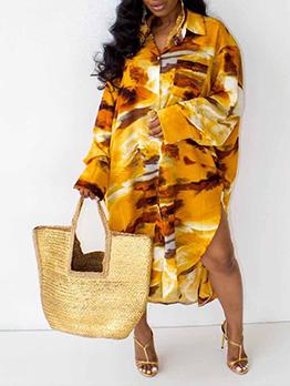 Plus Size Printed Baggy Long Sleeve Shirt Dress