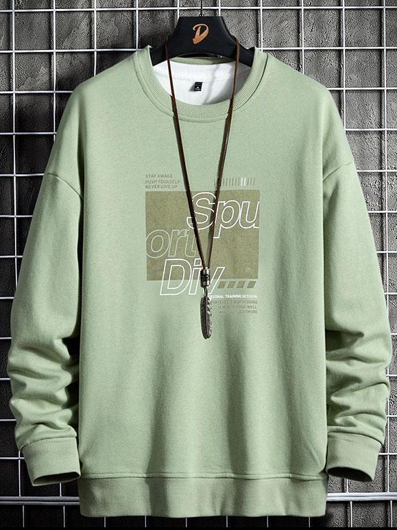 Trendy Printed Long Sleeve Crew Neck Men Sweatshirt