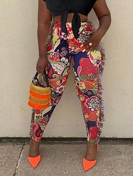 Individual Colorful Print Fringe Long Pants