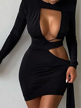 Sexy Designer Black Hollow Out Long Sleeve Dress