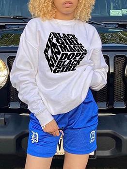 Casual White Stylish Plus Size Sweatshirt For Women