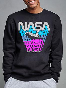 Letter Print Plus Size Casual Sweatshirt For Men